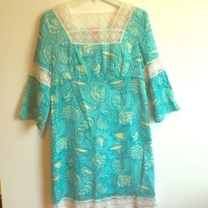 LILLY PULITZER Aqua Shell Empire with Lace DRESS M